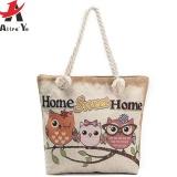 Beli Large Capacity Canvas Bag Cute Owl Printed Tote Travel Single Shoulder Shopping Handbags Intl Baru
