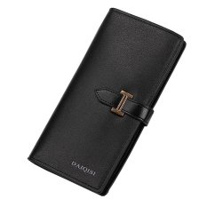 Situs Review Large Capacity Leather Clutch Checkbook Wallet Card Holder Purse For Women Black Intl