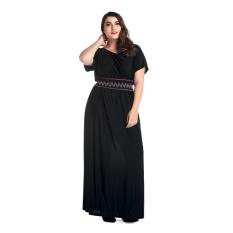 Harga Besar Ukuran Elegan Wanita Memakai Untuk Pernikahan Party Beach Lengan Pendek O Leher Lepas Gaun Maxi Dreese Hitam Intl Ome Ori