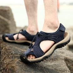 Review Ukuran Besar Pria Jahitan Kulit Asli Anti Collision Toe Renda Up Outdoor Beach Sandal Di Tiongkok