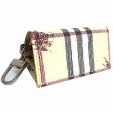 Lasido Dompet Gantungan Kunci Mobil Motor STNK Motif Burberry Car Key Chain PU Leather Lipat Pocket Wallet Folding Foldable Motorcycle Aksesoris Pria Wanita Berkendara Biker Driver Riding Rider Man Fashion Accessories - Coklat Muda