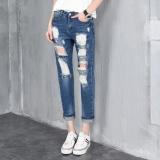Promo Laweisi Wanita Fashion Bordir Ripped Jeans Baggy Jeans Loose Sembilan Titik Jeans Warna Biru Tua Intl Akhir Tahun