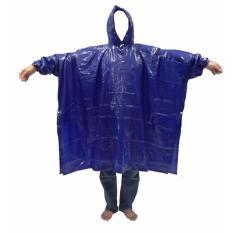 Layar Jas Hujan Karet Poncho Lengan - Biru