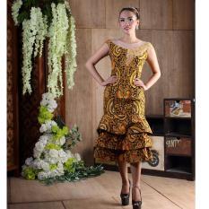 Dress Batik Modern Bahan Katun Kombinasi Tile Batik Printing Motif Pisang  Bali Kuning Dress Batik Modern aaaf0d1011