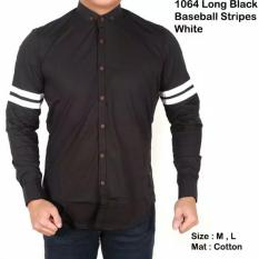 Harga Lazcare Kemeja Casual Black Strip Long Sleeve Local Terbaik