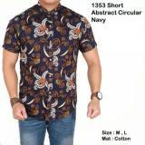 Lazcare Kemeja Pria Batik Modern Short Geometric Abstract Blue Navy Slim Fit Diskon Akhir Tahun