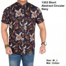 Harga Hemat Lazcare Kemeja Pria Batik Modern Short Geometric Abstract Blue Navy Slim Fit