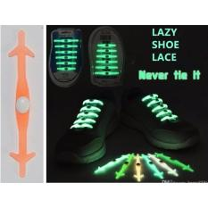 Lazy Shoelace / Tali Sepatu Silikon GLOW IN THE DARK (12PCS/PACK) - JINGGA
