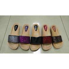 Lb735-11 New Era Sandal Selop Karet Gliter Kerlip