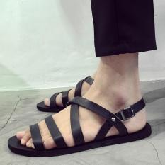 Jual Bblr Kasual Tampan Inggris Kulit Sandals Hitam