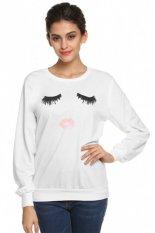 LCD Eyelash Lip Print Long Sleeve T-shirt Tops S-XL (White) - intl