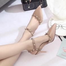 LCFU764 2017 Womens Pointed Tipis Berongga Kata Gesper Sepatu High Heels dengan Rivet Pompa-aprikot-Intl
