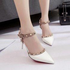 LCFU764 2017 Womens Pointed Tipis Berongga Kata Gesper Sepatu High Heels dengan Rivet Pompa-putih-Intl