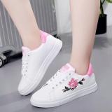 Lcfu764 Fashion Wanita Sneakers Cetak Pu Bunga Sepatu Kasual Olahraga Renda Up Datar Sepatu Pink Intl Original