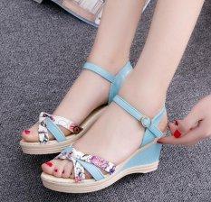 Toko Lcfu764 Wanita Fashion Wanita Korea Style Sweet Flower Printing Terlihat Biru Intl Lengkap Tiongkok