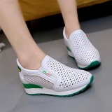Review Tentang Lcfu764 Baru Tinggi Meningkatkan Sepatu Kasual Wanita Bernapas Wedges Sepatu Hijau Intl