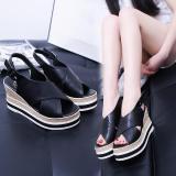 Toko Lcfu764 Platform Baru Wedge Sandal Wanita Xia Han Edisi Platform Sandal Tahan Air Bawah Mulut Ikan Mesin Tenun Grain High Heel Sandal Hitam Intl Online Terpercaya