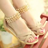 Jual Lcfu764 Wanita Musim Panas Wedges Sandal Sepatu Ujung Kaki Terbuka Pantai Sandal Jepit Kayu Cendana Beige Di Indonesia