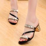 Harga Lcfu764 Diamond Kasual Wanita Memakai Sepatu Sandal Bertumit Hitam Asli
