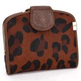 Leather Horsehair Women Wallet Short Clutch Pure Credit Card Hold Zebra Stripe Coffee Oem Diskon 50