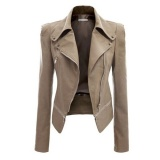 Harga Jaket Kulit Wanita Kerah Yg Terlipat Ke Bawah Kerah Jaket Mantel Motor Pendek Slim Pu Kulit Jaket Khaki Intl Online
