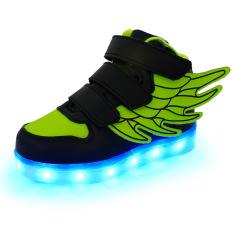 Toko Lampu Led Dia Sneakers Indah Gadis Boys Look Sayap Lampu Led Cantik Sepatu Anak Perempuan Sepatu Anak Buah Sayap Hijau Hitam Camshot Online