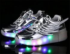 Led Tunggal Sepatu Roda Pulley Berkedip Wing Gaya Pu Bercahaya Sneakers-Internasional By Benrisstore.