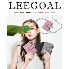 Diskon Leegoal Fashion Women Frosted Buckle Short Wallet Pink Intl