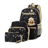 Review Leegoal Korea Fashion Ringan Teen Girls Shoulder Bags Canvas Backpack Schoolbag Dengan Star Printed Cocok 3 18 Tahun Tua Hitam Intl Terbaru