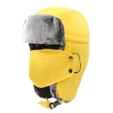 Leegoal Unisex Musim Dingin Trapper Hat Ushanka Trooper Bomber Topi dengan Telinga Flap Chin Strap Mask untuk Ski/Berburu/ Pekerjaan Di Luar Ruangan-Kuning-Intl