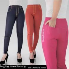 Legging Jeanse Kantong Uk Jumbo // Fit To XXL Celana Dewasa Jumbo Celana Jeanse Leging Wanita