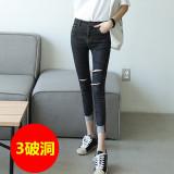 Harga Korea Perempuan Sembilan Poin Celana Jeans Kaki Bottoming Celana 3 Lubang Hitam 3 Lubang Hitam Oem Tiongkok