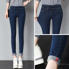 Review Denim Musim Semi Dan Musim Gugur Perempuan Pakaian Luar Celana Panjang Legging Peregangan Biru Tua Diperpanjang Biru Tua Diperpanjang Oem