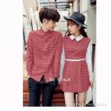 Spesifikasi Legionshop Baju Couple Dress Pasangan Kemeja Pasangan Dress Couple Dress Kotak Free Belt Red White Yang Bagus