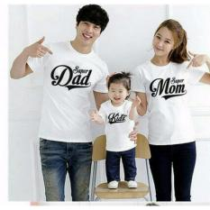 legiONshop-baju couple keluarga  Kaos keluarga  kaos family  kaos couple family SUPER DAD MOM KIDS white (Ayah+Bunda+Anak)
