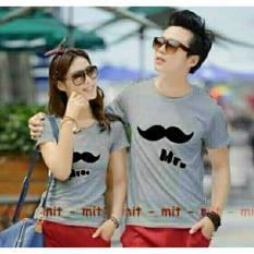 Legionshop Baju Pasangan Kaos Pasangan Atasan Couple Kaos Couple Lengan Pendek Mr Mrs Kumis Pd Grey Terbaru