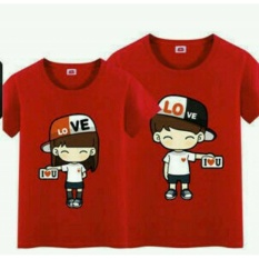 Diskon Produk Legionshop Baju Pasangan Kaos Pasangan Atasan Couple Kaos Couple Lengan Pendek Topi Love Pd Red