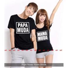legiONshop-baju pasangan  Kaos pasangan  atasan couple  kaos couple PAPA MUDA MAMA MUDA black