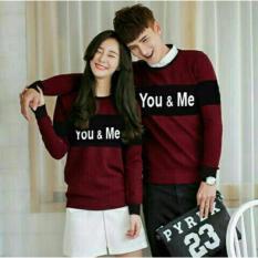 legiONshop-baju pasangan  Kaos pasangan  T-shirt couple  trendy  atasan pria dan wanita YOU N ME SPANDEX maroon black (lengan panjang)