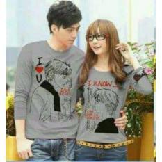 legiONshop-baju pasangan  Kaos pasangan  T-shirt couple  trendy  baju couple  kaos couple lengan panjang I KNOW grey (lengan panjang}