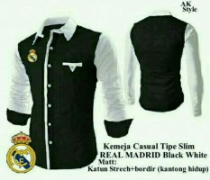 Review Toko Legionshop Best Quality Kemeja Casual Real Madrid Bordir Saku Hidup Black