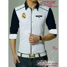 Promo Legionshop Best Quality Kemeja Casual Real Madrid Bordir Saku Hidup White Navy Murah