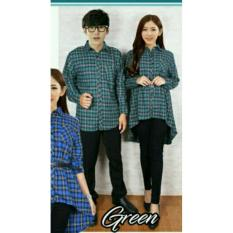 Harga Legionshop Best Quality Kemeja Dress Pasangan Couple Dress Fflanel Pinguin Free Belt Green Satu Set