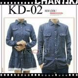 Legionshop Best Quality Kemeja Dress Pasangan Couple Dress Flanel Chantika Navy Brown Original