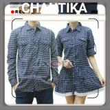 Penawaran Istimewa Legionshop Best Quality Kemeja Dress Pasangan Couple Dress Flanel Chantika Navy White Terbaru