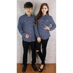Legionshop Best Quality Kemeja Pasangan Couple Shirt Flanel G 119 Navy Diskon Akhir Tahun