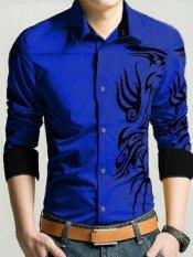Legionshop Best Quality Kemeja Pria Marcelino Tatto Bordir Blue Terbaru