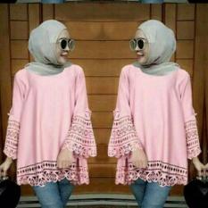 legiONshop-blouse jumbo wanita  atasan wanita  big size  baju ukuran besar  baju cewek ARSY LASERCUT pink