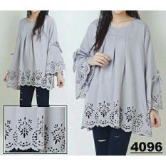 legiONshop-blouse jumbo wanita  kemeja wanita  big size  baju kotak-SALWA LASERCUT-grey