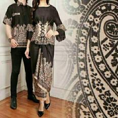 legiONshop-busana batik  dress pasangan  dress couple  baju batik couple LATIFAH black